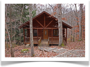 fall leaves cover ground around cabin with open porch